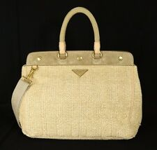 PRADA Natural Woven Raffia & Suede Frame Top Large Tote Bag w/ Strap