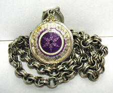 VICTORIAN STERLING SILVER ENAMEL LOCKET ON CHAIN NECKLACE 28 GRAMS