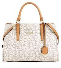 Calvin Klein Claudia Monogram Satchel Purse Handbag Almond/ Khaki/ Cashew $228