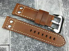 22mm Aviation Brown Military Button Leather Strap Rivet Watch Band PANERAI 22