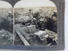 WW1 SCOTS ENTRENCHED & CHEERILY AWAITING A COUNTER-ATTACK KEYSTONE STEREOVIEW 21