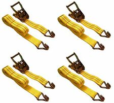 "4 Pc 1.5"" inch x 15' Ft Ratchet Tie Down Cargo Straps J Hooks 4 pack"