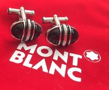 MONTBLANC MEISTERSUCK PLATINUM PLATED CUFF LINKS WITH BLACK ONYX