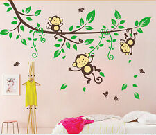 Monkey-Tree-Birds-Animal-Nursery/Kids/Boys/Children/Girls Wall sticker/decal