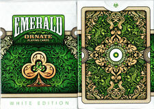 ORNATE WHITE EDITION EMERALD BICYCLE DECK PLAYING CARDS BY HOPC MAGIC TRICKS