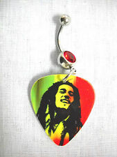 RASTA COLORS BOB MARLEY CLASSIC PICTURE GUITAR PICK 14g RED CZ BELLY BUTTON RING