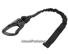 New Tactical Military Airsoft Steel Hook Elastic Safety Lanyard Strap Belt Black
