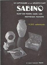 PUBLICITE SABINO  LUMINAIRE OBJET D'ART VASE CENDRIER DE 1931 FRENCH AD ADVERT
