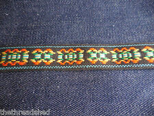 BTY Vintage Hippie Fabric Trim Retro Mod Tribal Black Orange Green 1in Wide