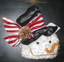 GLITTER Crinkled FROSTY SNOWMAN HEAD Ornament, Wreath decoration or in Garland