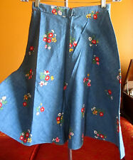 XS~S 25W COUNTRY BLUE VTG 70s HOME MADE MOD GIRL/HIPPIE FLORAL SKIRT