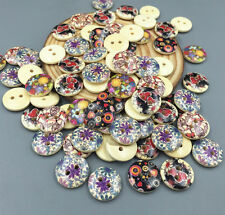 50pcs 2-holes Flowers Round Wooden buttons Sewing Scrapbooking Crafts 15mm
