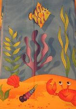 NEW Blue Ocean fabric SHOWER CURTAIN TROPICAL Sea Creatures CRAB FISH Colorful