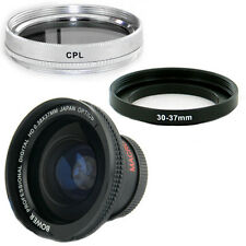 Bower 30mm 0.38x Wide Fisheye Lens,CPL Filter for Sony Handycam XR100,XR150 NEW