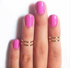 retro 5P Rings Urban Gold stack Plain Cute Above Knuckle Band Midi Ring #5 HS98