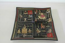Coca Cola chip and dip square glass tray divided 1960's black glass red gold
