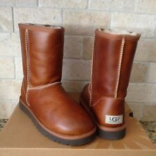 UGG Classic Boots Chestnut Waterproof Leather /Sheepskin US 7 NEW #1005372