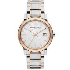 BU9006 Burberry Silver and Rose Gold Large Check Mens Watch Authentic !!