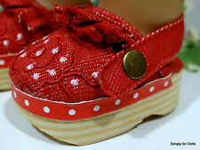 """RED DENIM Canvas DOLL CLOGS SANDALS SHOES fits 18"""" AMERICAN GIRL Doll Clothes"""