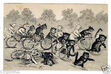 POSTCARD CATS LOUIS WAIN UNSIGNED BICYCLE RACE EMBOSSED