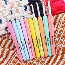 10/Set Multi Colour Soft Grip Handle Aluminum Crochet Hooks Knitting Needles GT