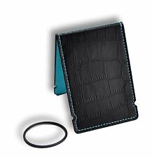 Coobs Golf | Cash Cover Wallet & O-Ring | Black Crocodile Leather Teal Blue NEW