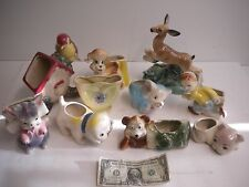 Vintage Glass Planters Lot of 10 - Dogs - Bird - Deer