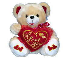 "14"" Bear Plush Tan 1 Heart Valentine's Mother's Birthday Anniversary Day NEW"