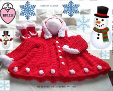 Baby knitting pattern in chunky yarn. Coat with hood + booties, in 6 sizes.
