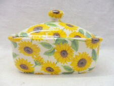 sunflower chintz butterdish by Heron Cross Pottery