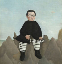 """perfect 30x30 oil painting handpainted on canvas """"Boy On The Rocks""""N4059"""