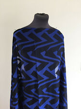 Royal Blue/Black Chevron Stripe Non Stretch Devore/Burnout Dressmaking Fabric