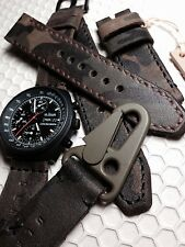 22mm Handmade Double-Layered Camo Military Genuine Leather Vintage Watch Band