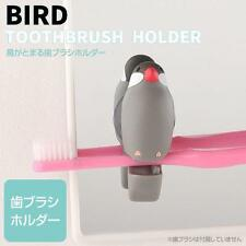 Bird Shaped Cute Suction Cup Toothbrush Clip Holder (Java sparrow / Gray)