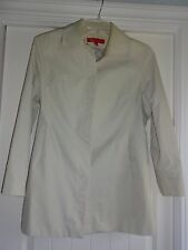 AK Anne Klein solid cream woman's  M cotton nylon snapped lined trench coat