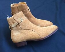 Men's Suede Buckles Pointed Toe Low Heel Chelsea Ankle Boots Yellow Shoes Size