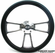 "14"" Aluminum Black Wrap Steering Wheel Set Chevy El Camino Chevelle SS 1969-87"