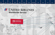 """UNITED AIRLINES WORLDWIDE ROUTES MAP 22"""" X 27.5"""" 1996 INTERNATIONAL/DOMESTIC"""
