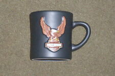 HARLEY-DAVIDSON COFFEE CUP CERAMIC MUG EMBOSSED EAGLE BAR AND SHIELD LICENSED