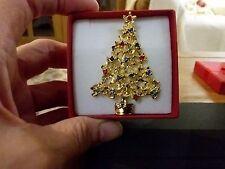Nuevo Dorado árbol De Navidad Broche Con Caja De Regalo
