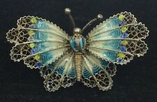 Vintage Etruscan Style 900 Silver Filigree Enamel Butterfly Brooch Pin