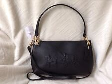 NWT Coach Embossed Horse & Carriage Charley Leather Cross-body Bag Black F33521