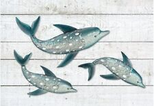 Dolphin Fish Wall Art Metal Coastal Nautical Beach Indoor Outdoor Hanging Set/3