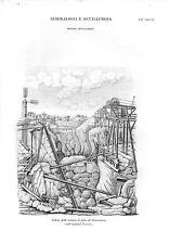 Stampa antica MINIERA di FERRO a Dannemora Svezia Sweden 1848 Old print