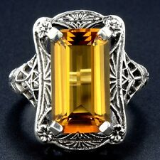 8CT Golden Citrine 925 Solid Sterling Silver Art Nouveau Filigree Ring Sz 6