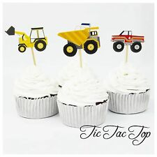 12 x Construction Truck Digger Cupcake Toppers Picks. Party *Superb Quality*