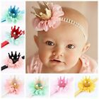 Hot Baby Girl Crown Headband Princess Crown Hair band Pearl Tiara Lace Headwear
