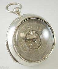 Molto presto INGLESE SILVER Coppia con Custodia VERGE Orologio da taschino da Bianco c1690
