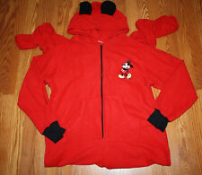 NWT Womens Disney Red Mickey Mouse Hooded Fleece Footie Pajamas XL 16-18
