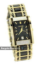 mens Elgin black ceramic gold tone business success watch CZ date bracelet